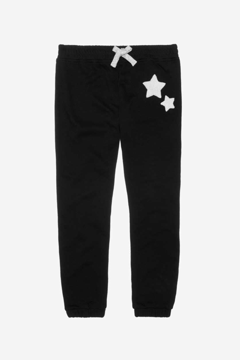 Girl's Star Patch Jogger Pants, Black