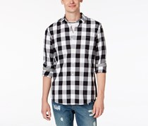 American Rag Men's Cassano Check Shirt, Black /White