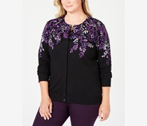 Women's Plus Size Placed Floral-Print Cardigan, Purple Dynasty