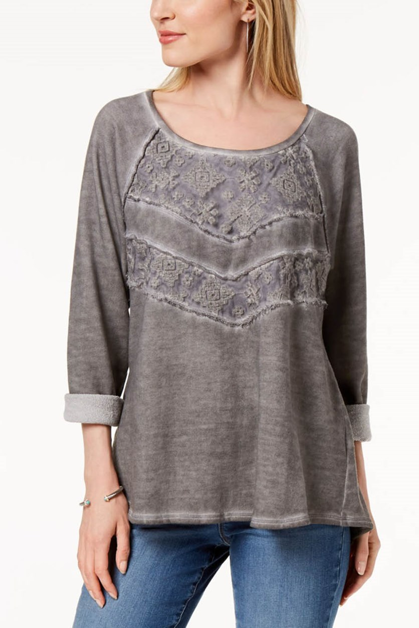 Lace-Panel Sweatshirt, Grey