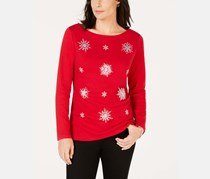 Women's Plus Size Snowflake Embellished Holiday Top, Red