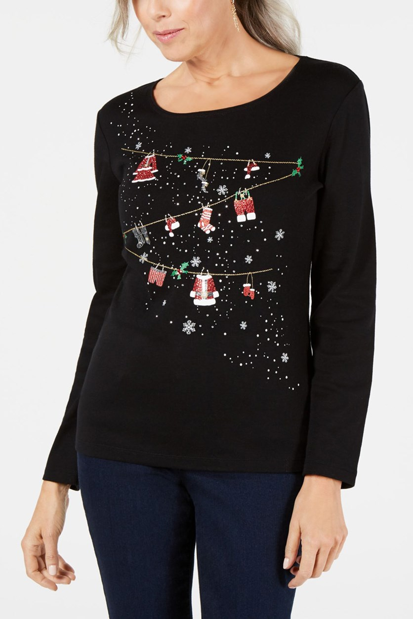 Women's Cotton Embellished Holiday Top, Deep Black