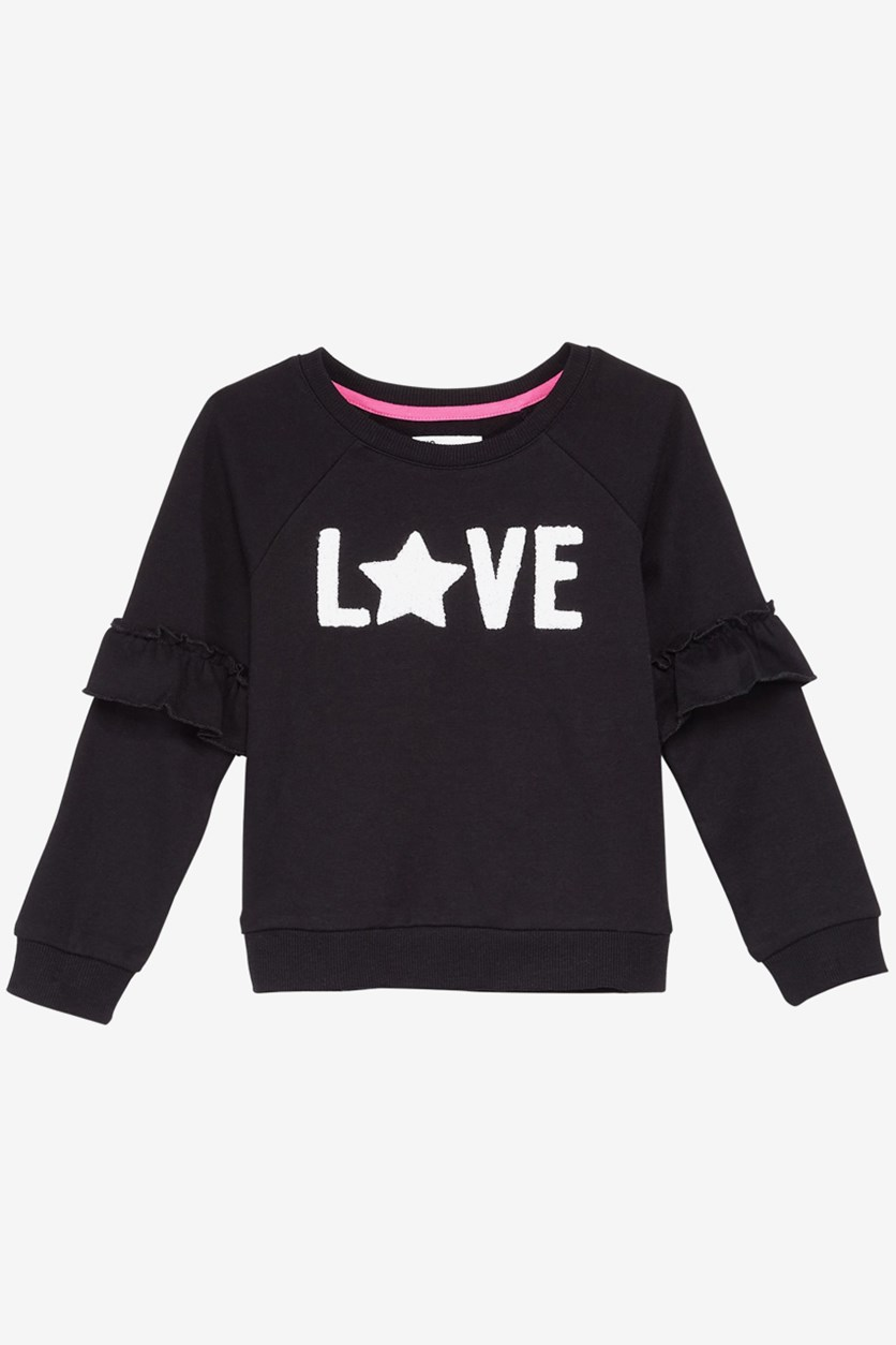 Kid's Girls Ruffle-Trim Sweatshirt, Black