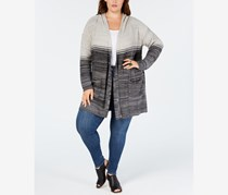 Women's Plus Ombre Hooded Cardigan Sweater, Grey Comcp
