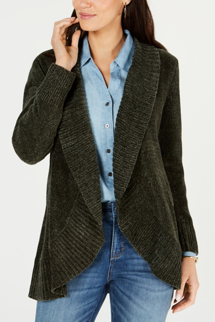 Petite Shawl-Collar Open-Front Cardigan, Dark Olive