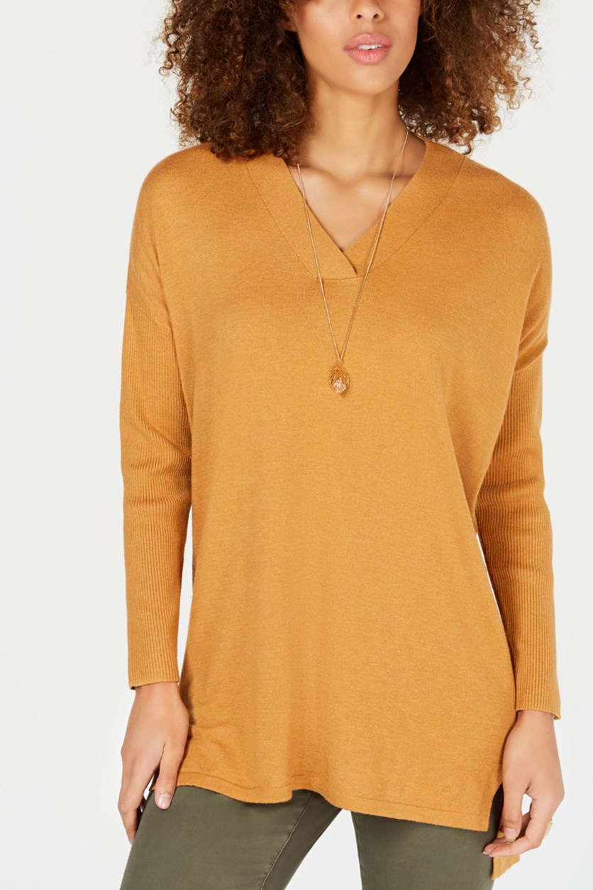 High-Low Tunic Sweater, Ginger