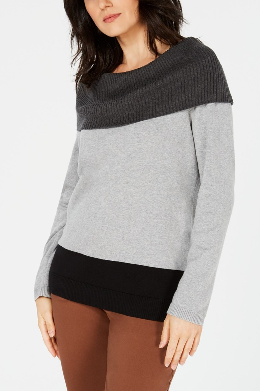 Women's Cotton Colorblocked Cowl-Neck Sweater, Black/Grey/Charcoal