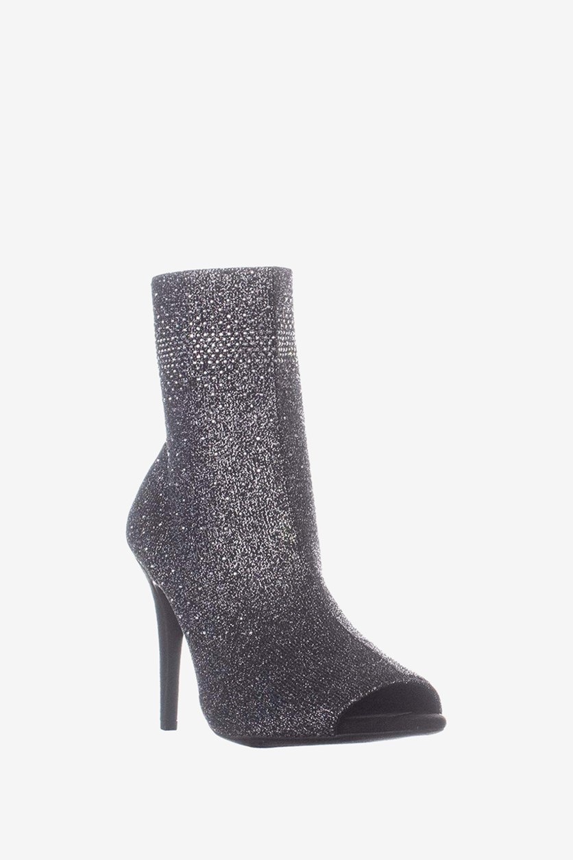 Women's Rielee2 Fabric Peep Toe Ankle Fashion Boots, Pewter Knit