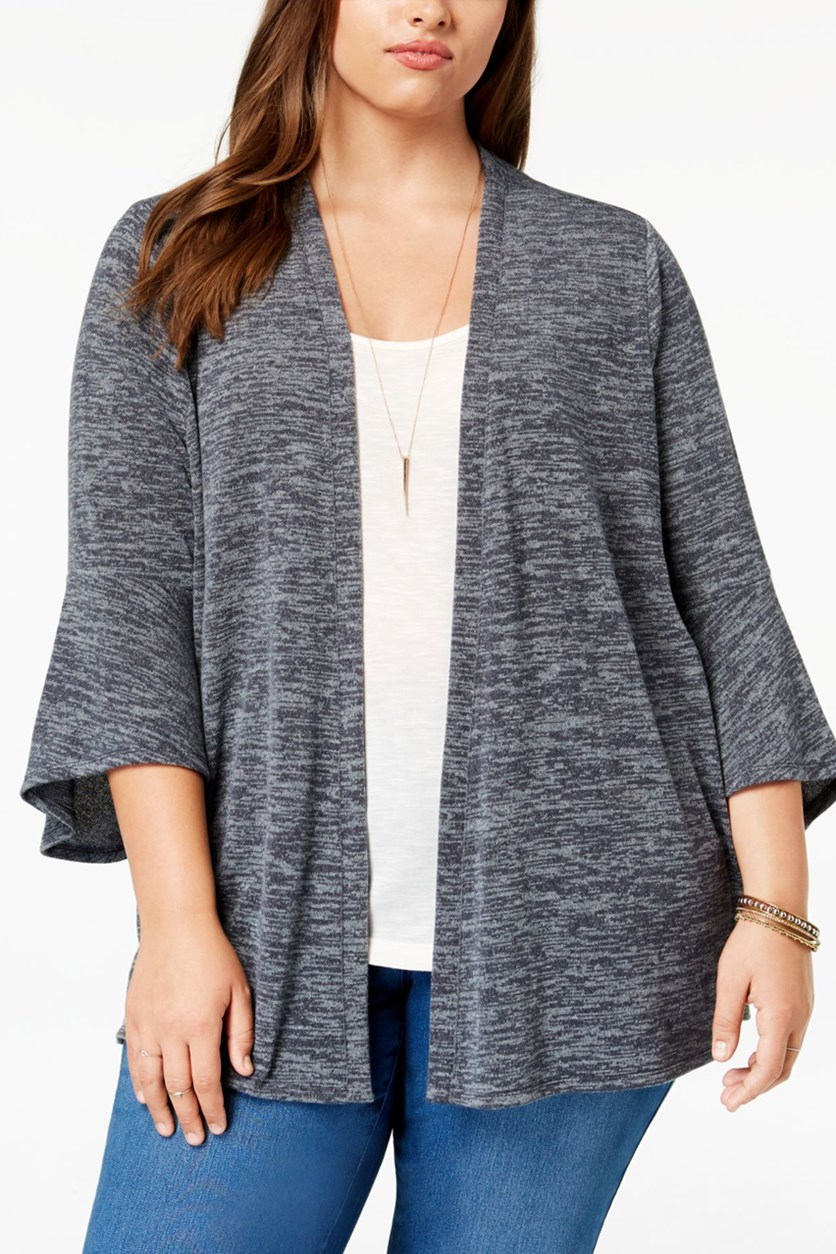 Womens Plus Heathered Cardigan Sweater, New Graphite Grey