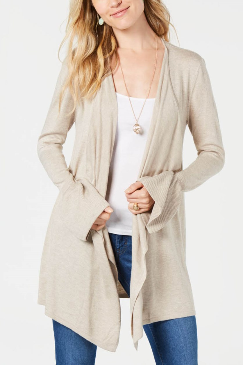 Bell-Sleeve Draped Cardigan, Hammock Heather