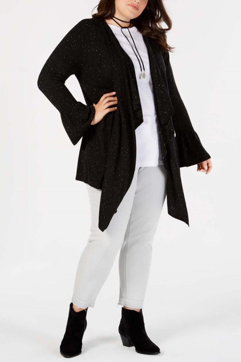 Plus Size Ruffled-Sleeve Open-Front Cardigan, Deep Black