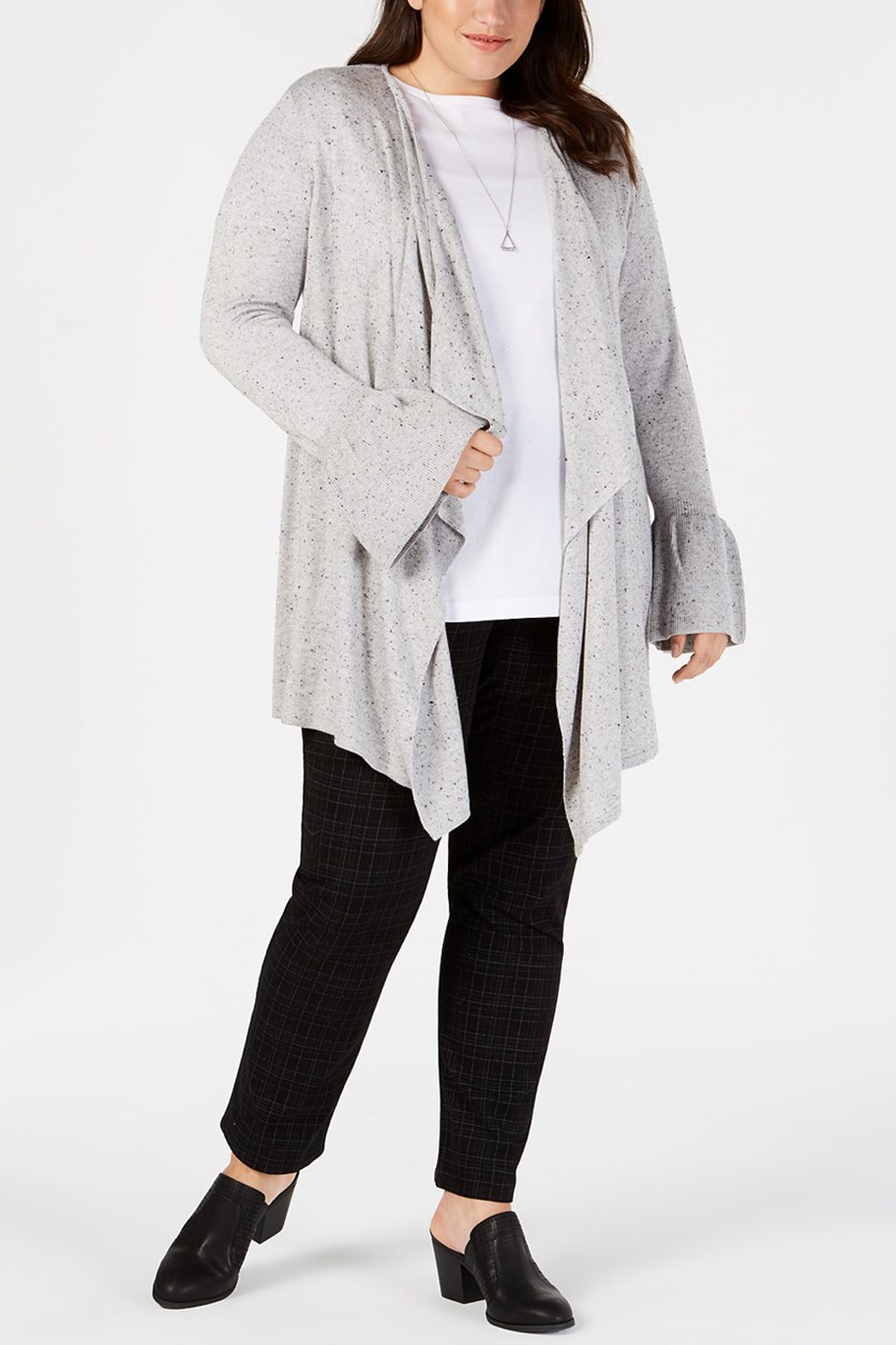 . Women's Plus Asymmetric Open-Front Cardigan Sweater, Heather Gray