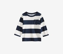 Baby Boys Rugby Striped Cotton Shirt, Navy/White