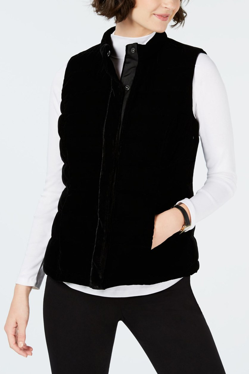 Women's Petite Velvet Quilted Vest, Deep Black