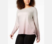 Plus Size Dip-Dyed Long-Sleeve T-Shirt, Shimmer Pink