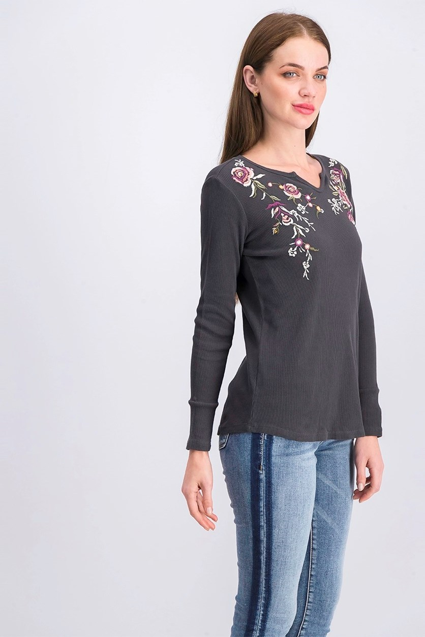 Cotton Embroidered Thermal Top, Desert Rose