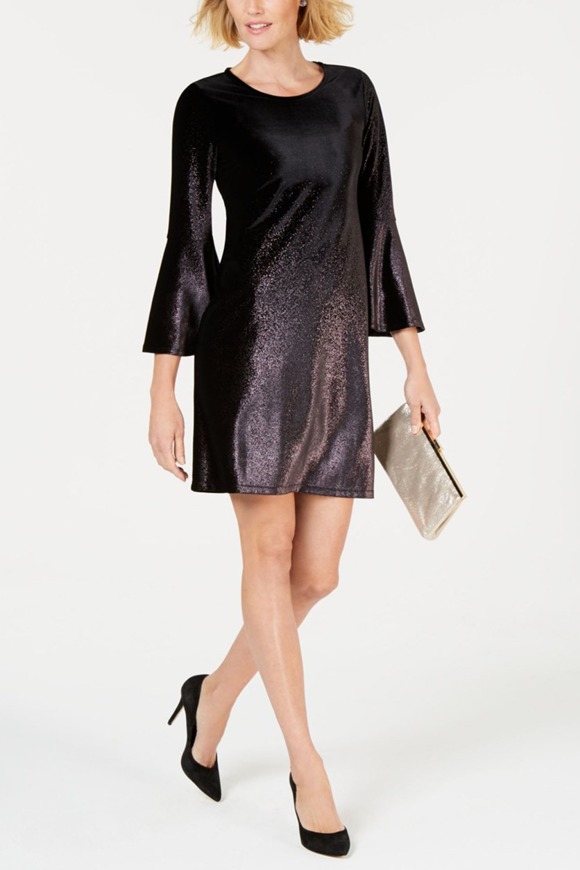 Petite Foil Velvet A-Line Dress, Purple Ombre Foil