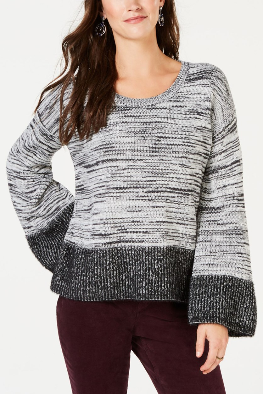 Colorblock Boxy Pullover Sweater, Black Combo