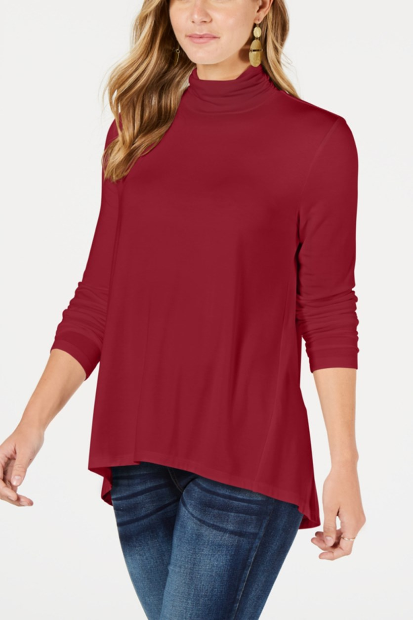 Women's Mock-Neck Top, Canyon Red