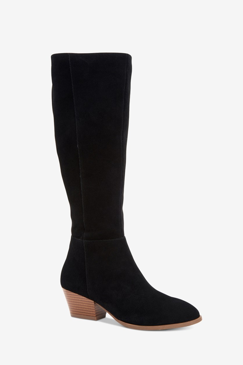 Women's  Izalea Faux Suede Stacked Dress Boots, Black