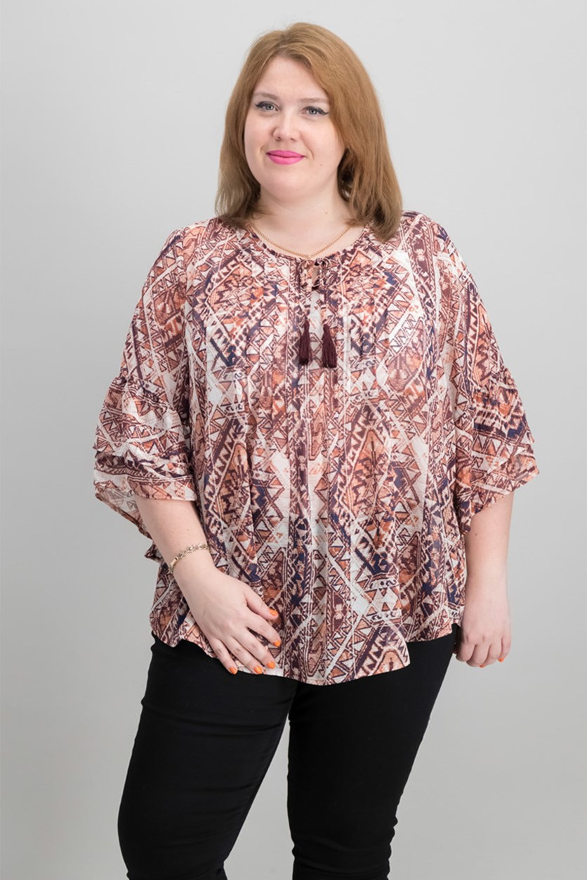Womens Printed Keyhole Pint Top, Globetrotter