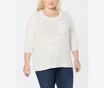 Women's Plus Embroidered Three-Quarter Sleeves Pullover Sweater, Winter White