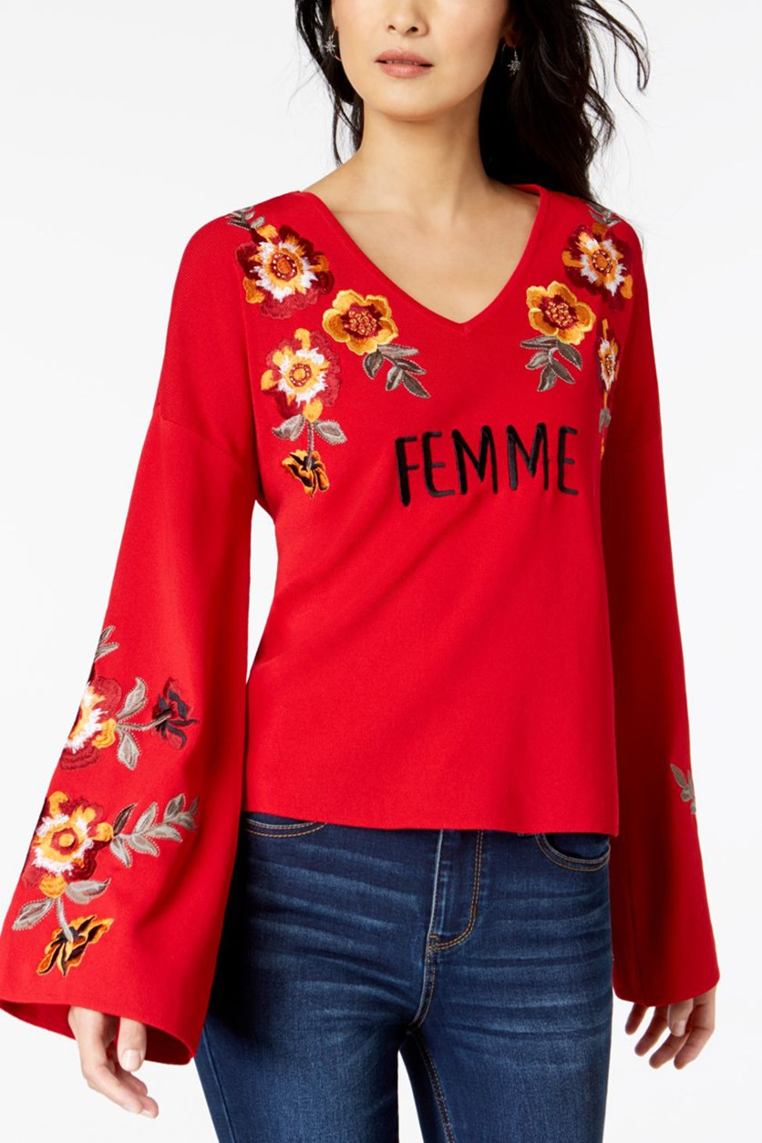 Women's Embroidered Bell Sleeves Pullover Sweater, Red