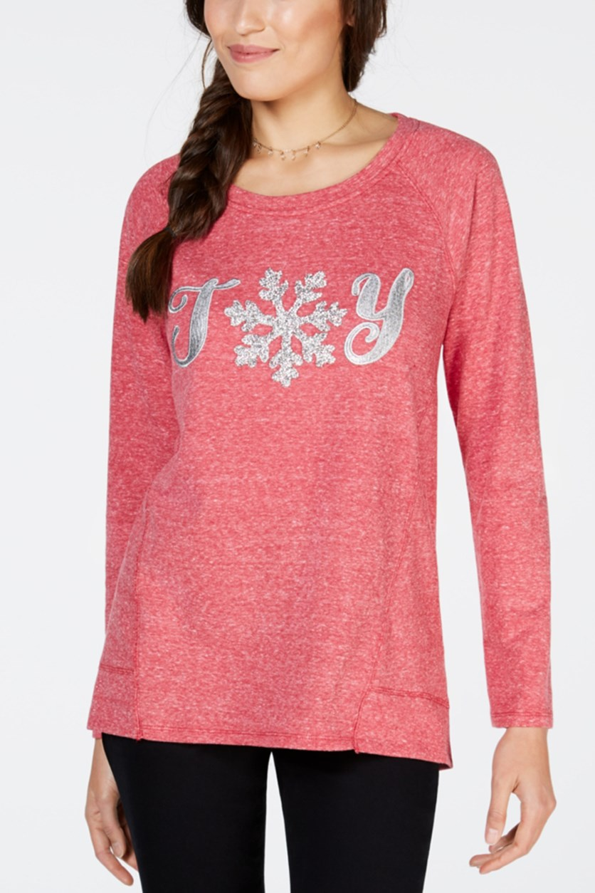Women's Petite Joy Graphic Print Long Sleeve Sweater, Canyon Red
