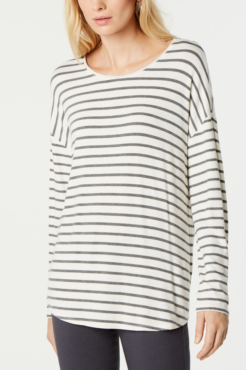 Women's Striped Top, Grey/Ivory