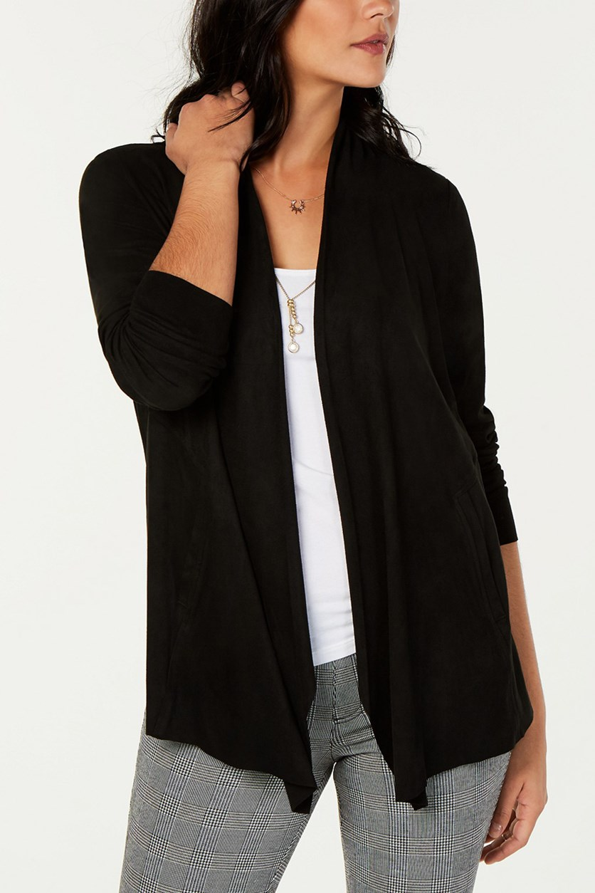 Women's Faux-Suede Cardigan, Deep Black
