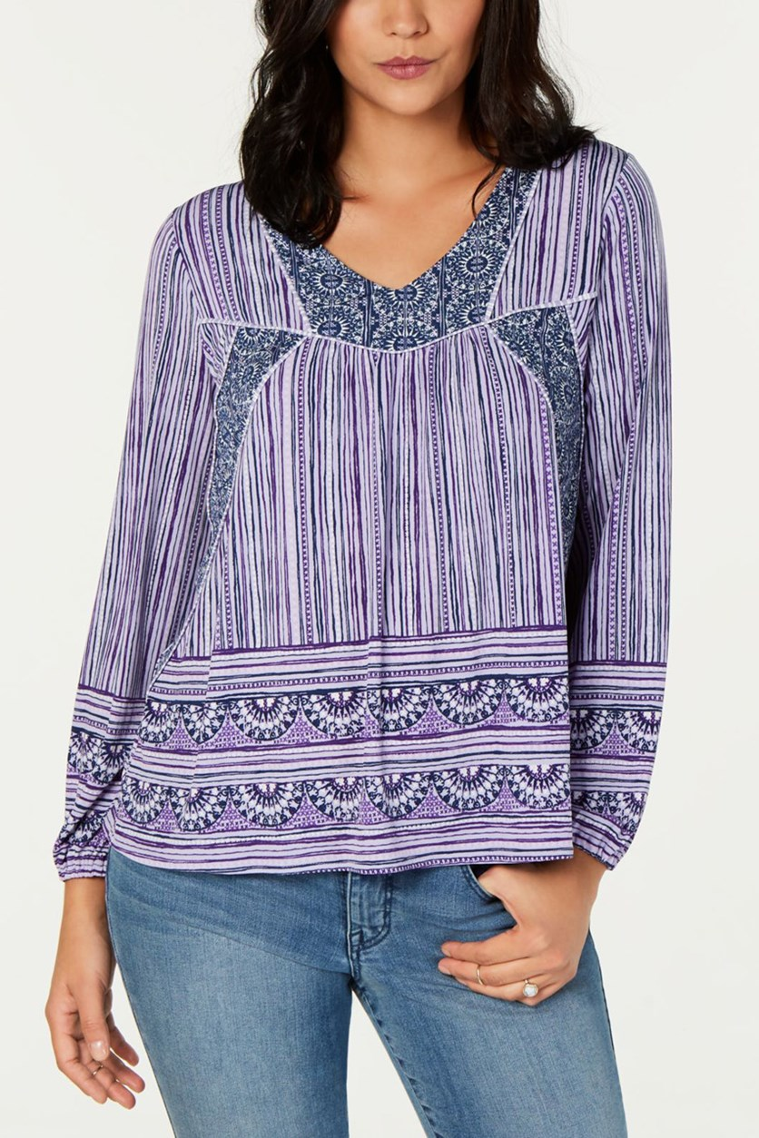 Printed Peasant Top, Purple