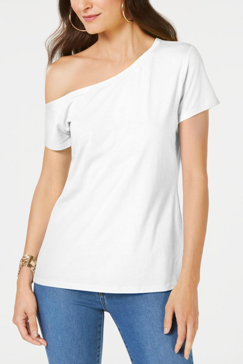 Women's One-Shoulder T-Shirt, Bright White