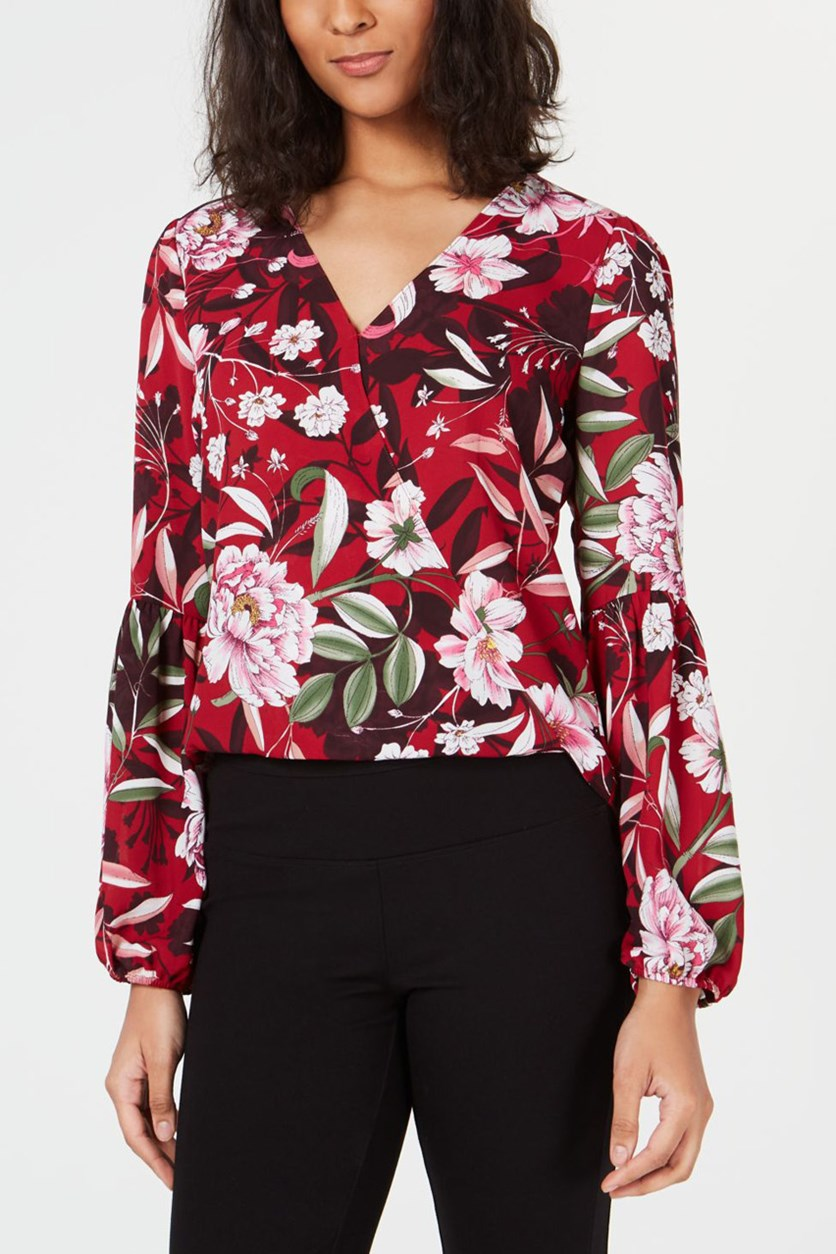 Women's Floral Print Faux Wrap Long Sleeve Top, Red