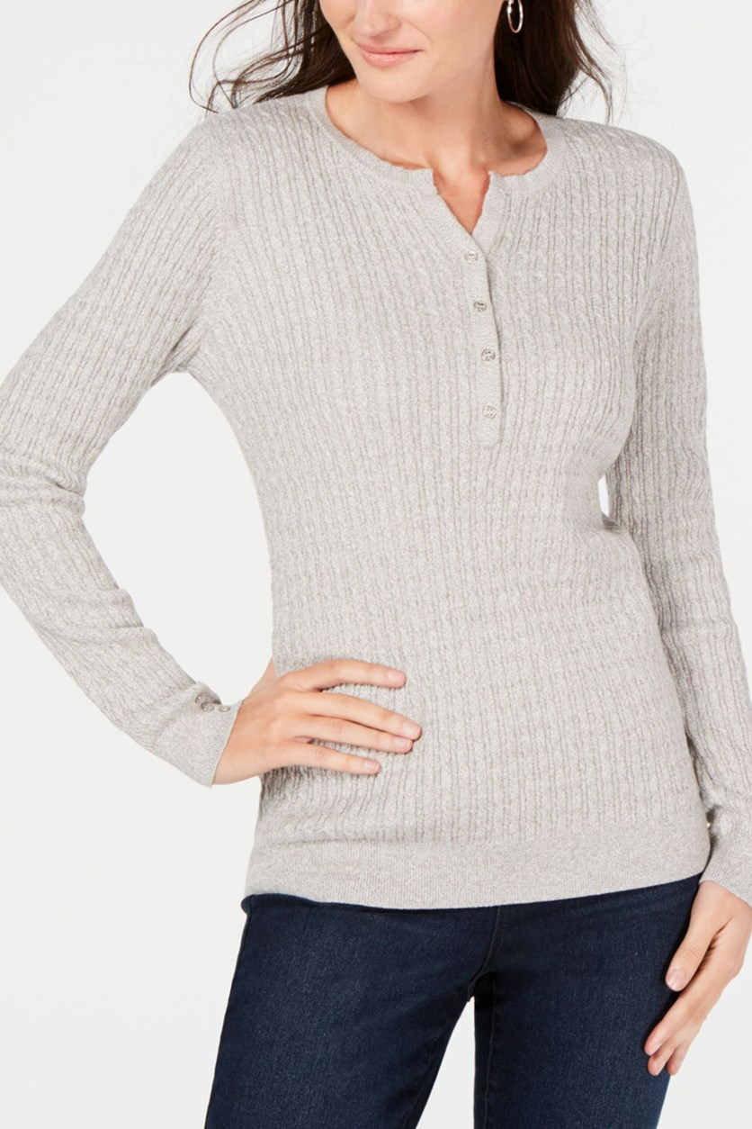 Women's Cotton Cable-Knit Henley Sweater, Smoke Grey Heather