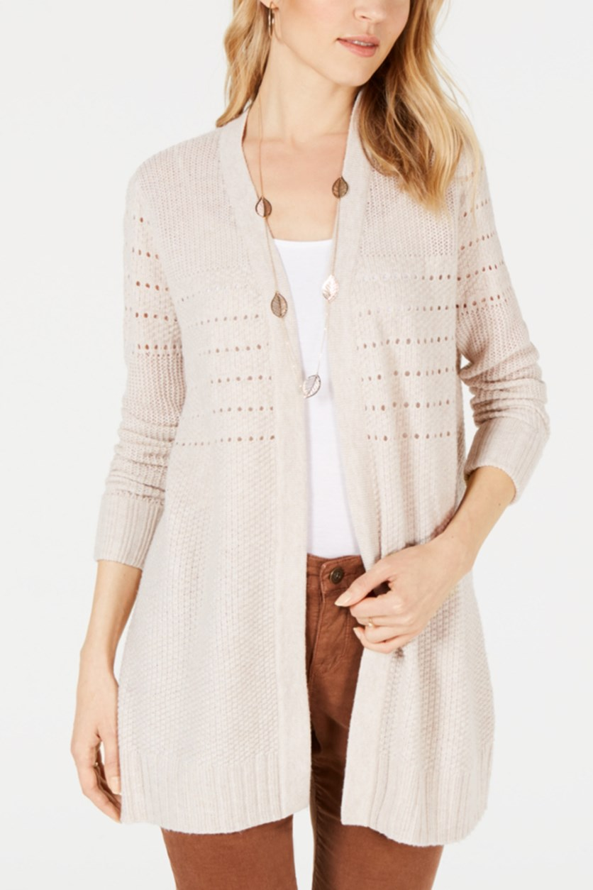 Women's Petite Mixed-Knit Duster Cardigan, Neutral