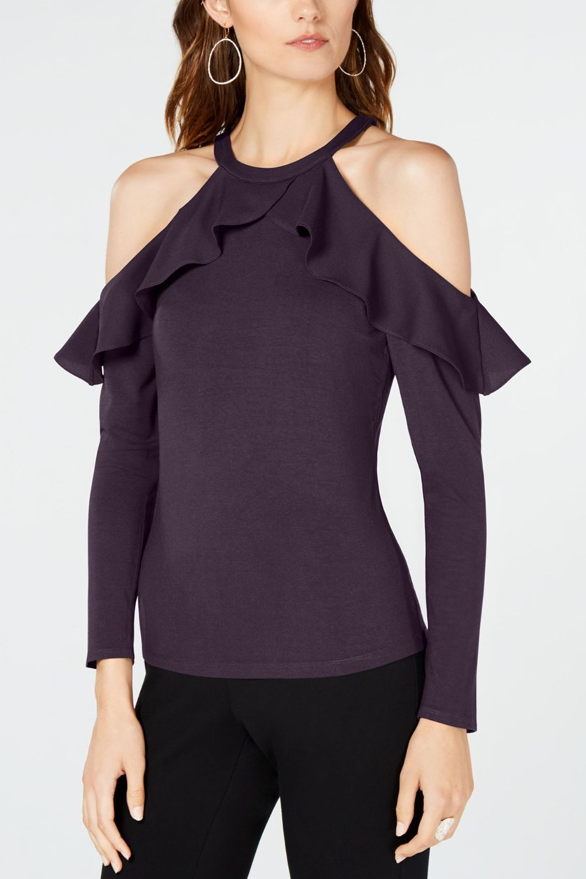 Women's Ruffled Cold Shoulder Blouse, Blackberry Jam