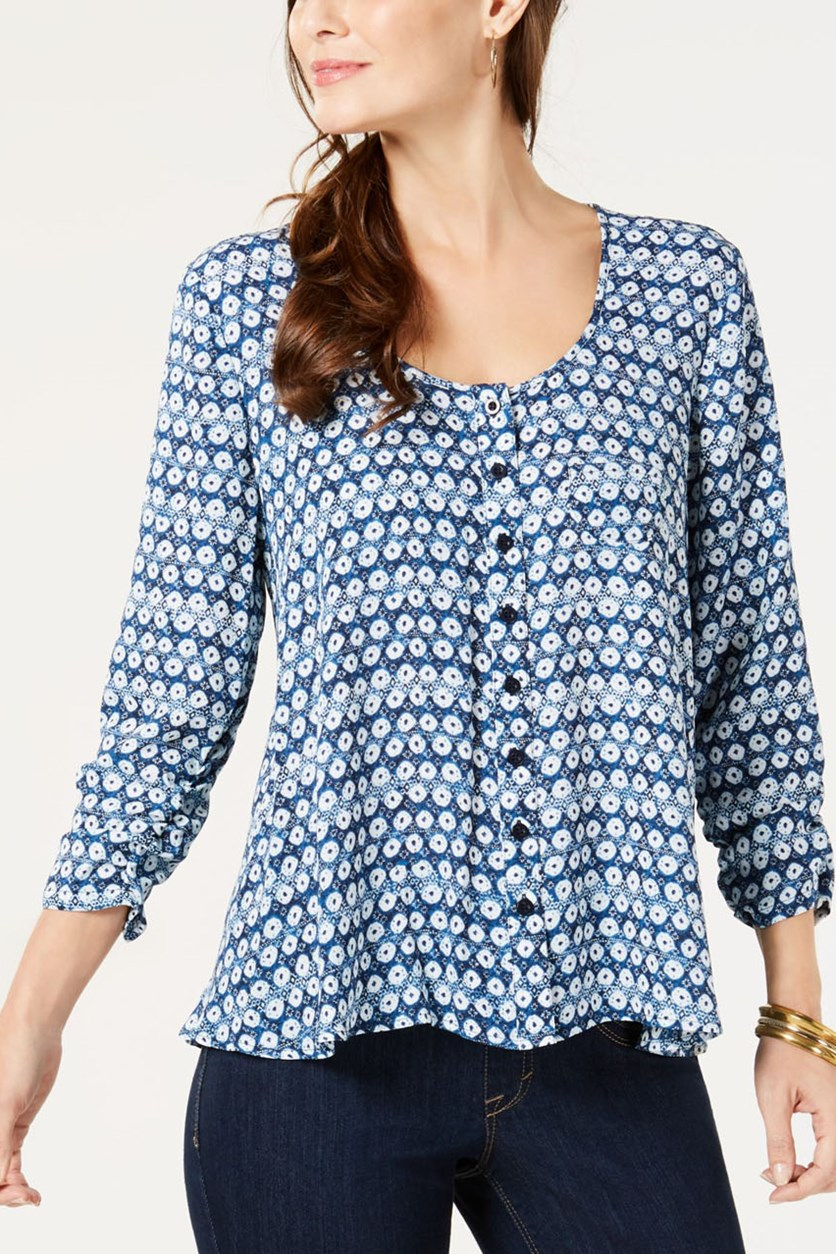 Women's Printed Ruched 3/4-Sleeve Top, Seashell Stamp