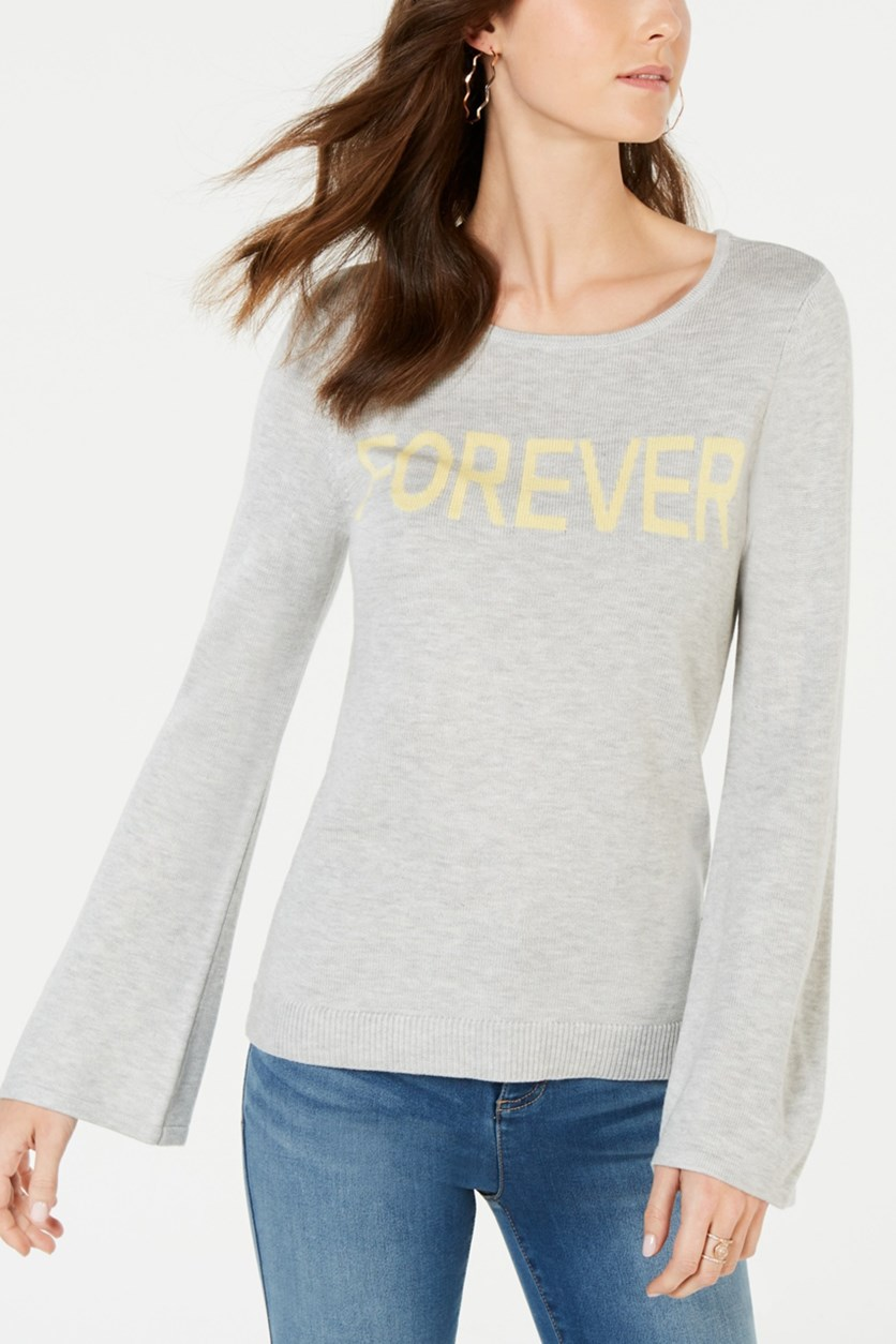 Women's Forever Graphic-Print Sweater, Heather Grey