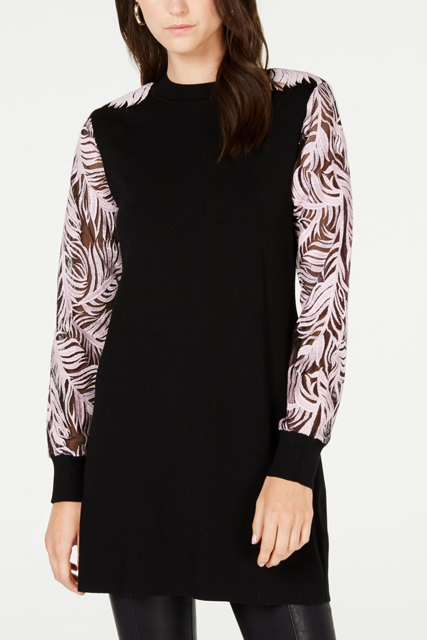 Women's Printed Sheer-Sleeve Tunic, Deep Black Combo