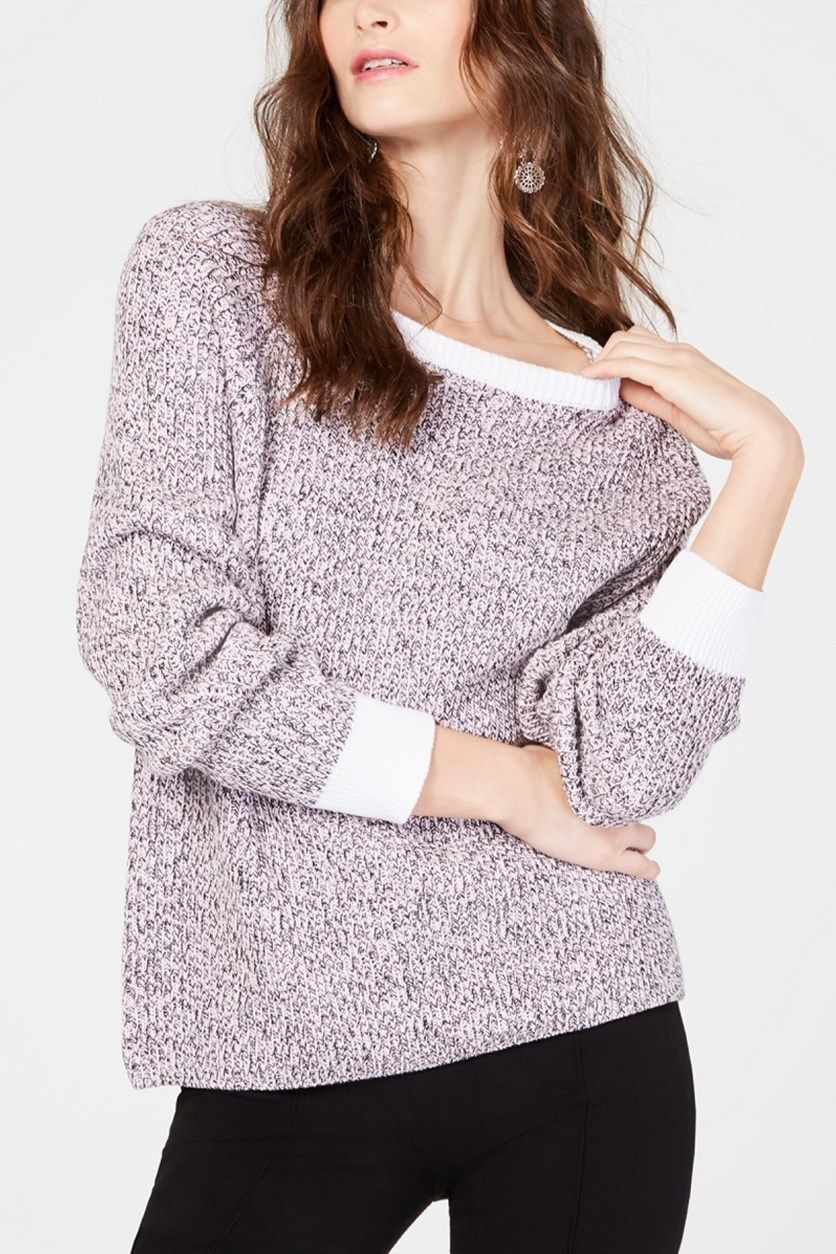 Women's Cotton Marled Pullover Sweater, Pink Wash