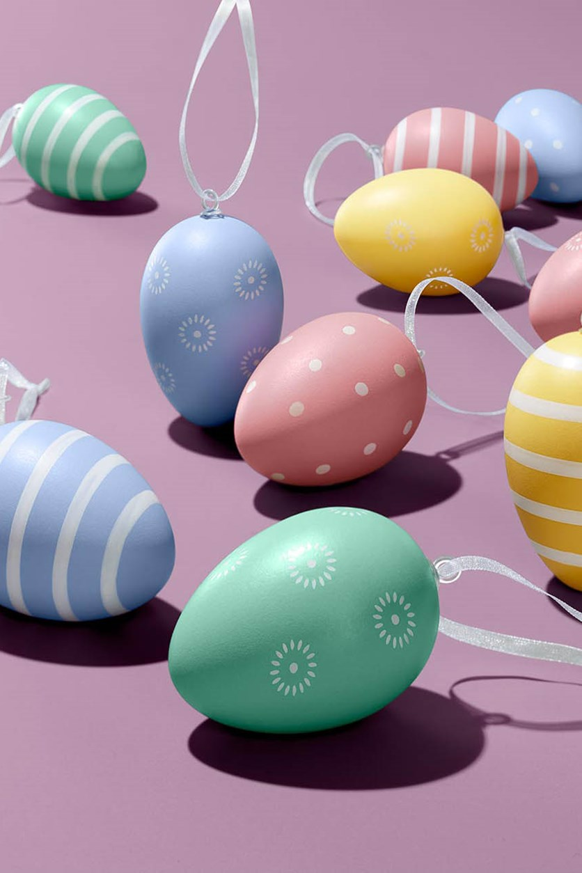 12 Easter Eggs, Yellow/Pink/Green/Blue