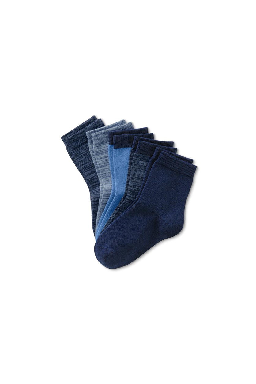 Kids Boys 5 Pairs Crew Socks, Navy/Blue/Light Blue