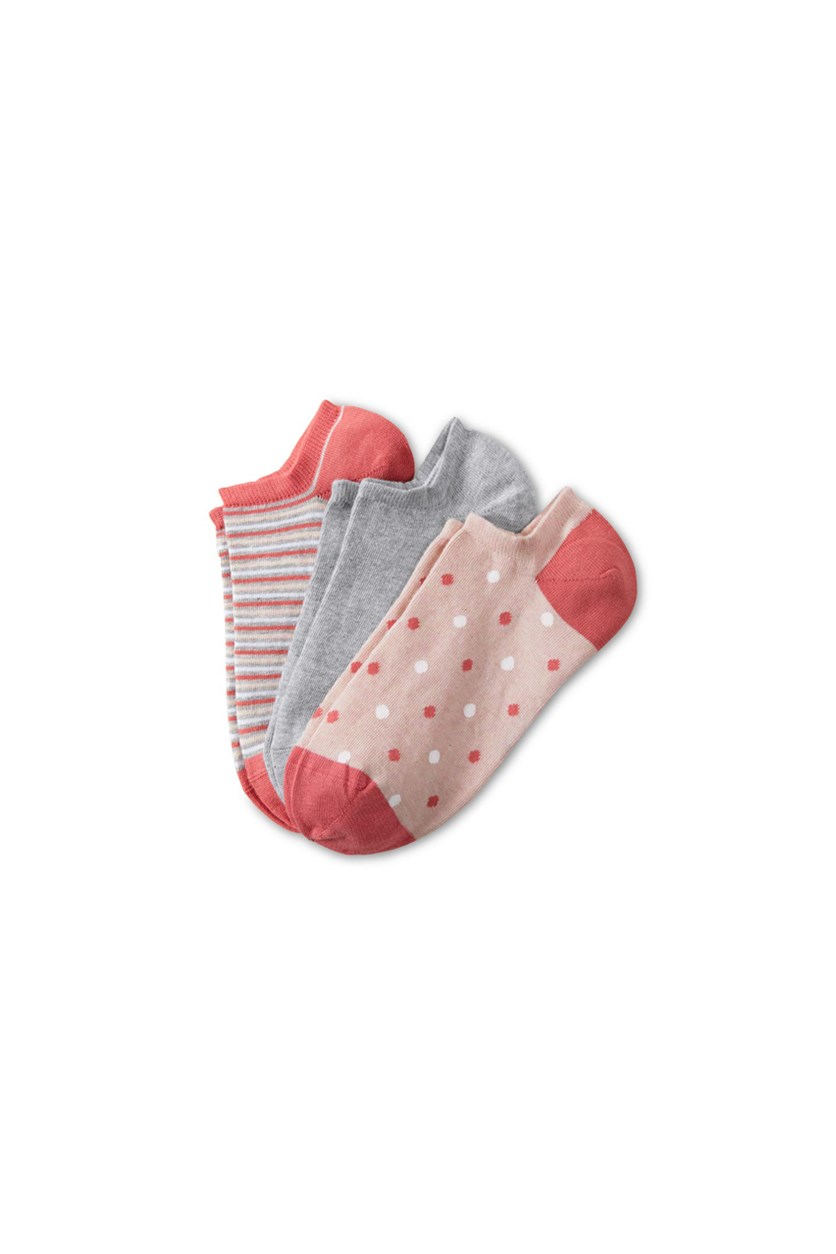 Women's 3 Pairs Sneakers Socks, Pink/Peach/Grey