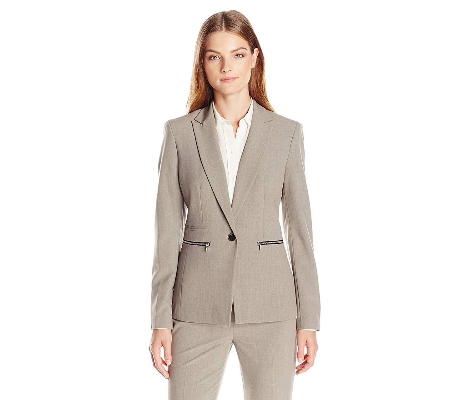Nine West Women's Taylor Zip-Pocket Blazer, Grey