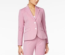 Anne Klein Women's Striped Seersucker Blazer, Purple/white