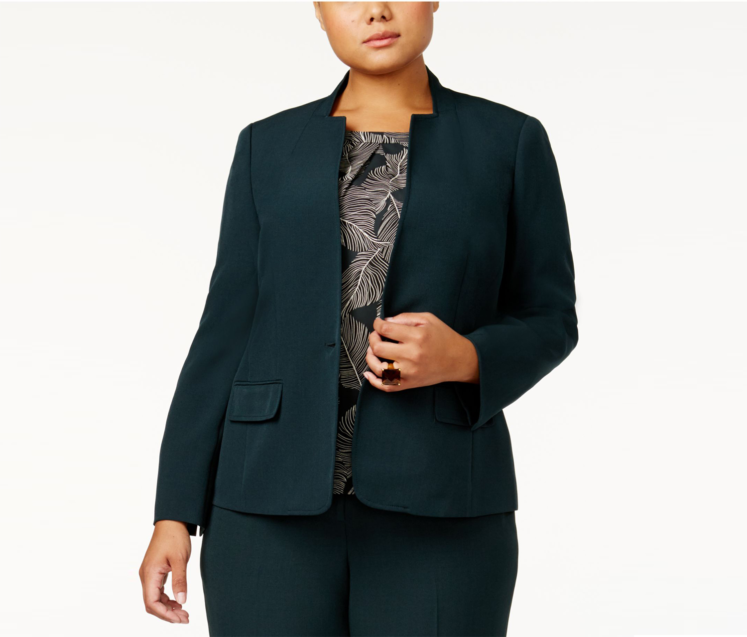 Kasper Plus Size One-Button Blazer, Green