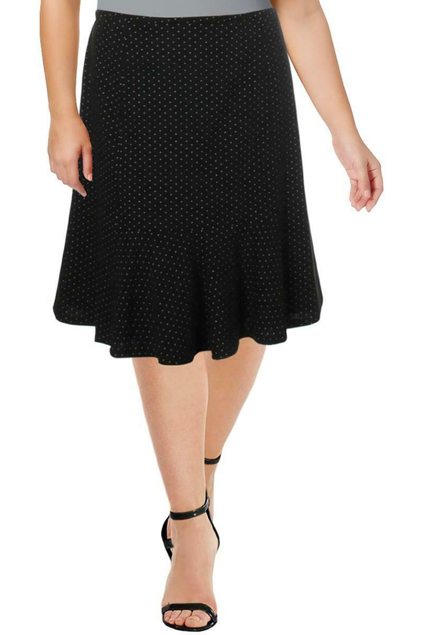 Women's Plus Size Pindot Ribbed Office Flare Skirt, Black & White