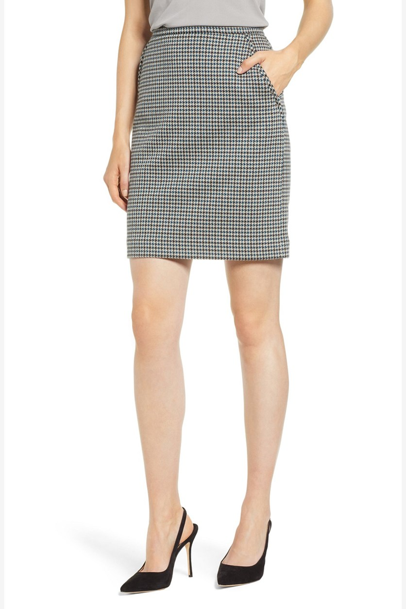 Women's Teal Houndstooth Above the Knee Pencil, Black/Beige Combo