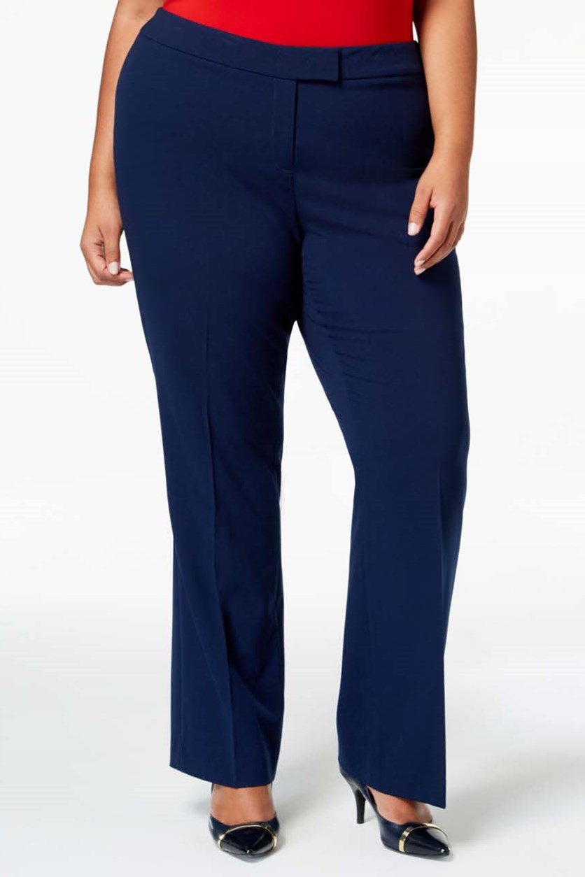 Women's Plus Flare Straight Pants, Marine Blue