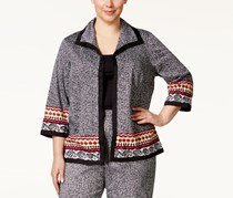 Alfred Dunner Plus Size Printed Open-Front Blazer, Black